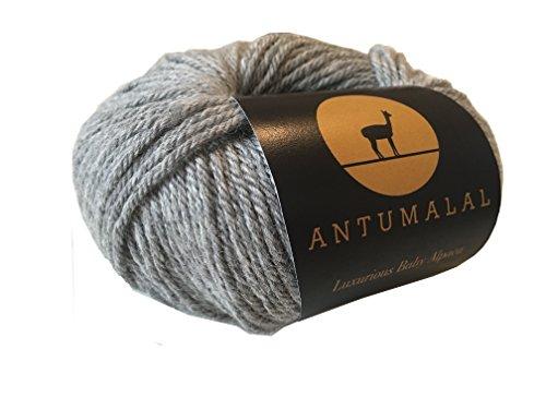 Antumalal 100% Alpaka Wolle 50g 112m Strickwolle Nadelstärke 6 Hypoallergen Luxury (grau)