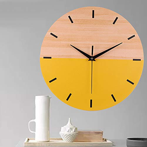 Muium 2019 Nuevo Moderno Elegante Grano de Madera Reloj de Pared Silencioso Barrido Buen Regalo de decoración del hogar (Amarillo)