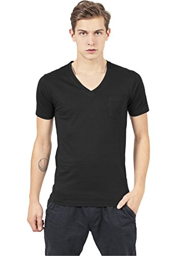 Urban Classics TB497 V-Neck Pocket Tee T-shirt Collo a V Manica Corta Tasca (Black, L)