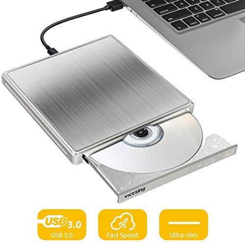 VicTsing ¡Upgraded! Externes DVD Laufwerk USB, Ultradünn (1,6 cm) USB 3.0 Portable DVD/CD Brenner Plug & Play tragbarer optisches Laufwerk kompatibel mit Laptop/MacBook/Desktop/PC (Silber)