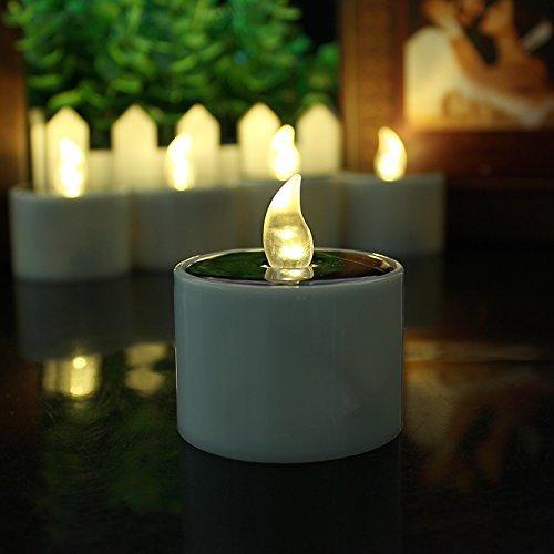 LED Solar Luz de la Vela - Amarillo Lámpara Electrónica LED - Sin Llama El Plastico Nightlight Energía Solar - Banquete de Boda al Aire Libre Luz de Decoración Para el Hogar(12pcs? - Lovin
