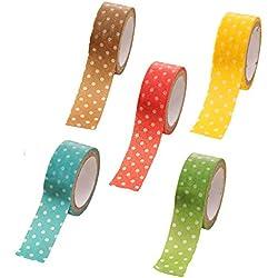 5x oyfel Washi Tape Masking Tape Cinta adhesiva decorativa color Kawaii con Decoration de lunares para DIY manualidades Scrapbooking color aleatorio 1.5cm