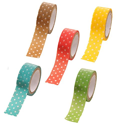 5 x oyfel Washi Tape Masking Tape Cinta adhesiva decorativa color Kawaii con Decoration de lunares para DIY manualidades Scrapbooking color aleatorio 1.5 cm
