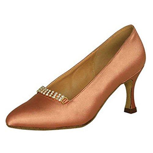 YFF Dono donne scarpe da ballo sala da ballo latino ballare il tango scarpe da ballo 7.5CM 7CM Brown