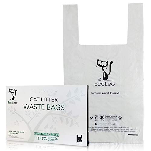 EcoLeo Katzenstreu-Abfallbeutel -XL biologisch abbaubare, kompostierbare, kunststofffreie, Dicke, auslaufsichere, Haustier/Hundekot Beutel mit einfach zu befestigenden Griffen, 26,5x47cm (60 Tüten)