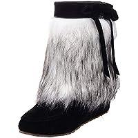 Fuibo Damen Stiefel, Frauen Wildleder Plüsch Round Toe Wedges Schuhe Reine Farbe Slip-On halten warme Schneeschuhe | Stiefeletten Ankle Boots Schlupfstiefel Chelsea Boots