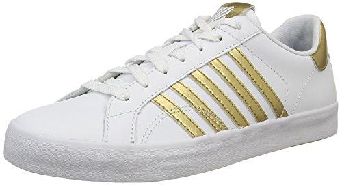 K-Swiss Belmont, Baskets Basses femme Blanc (White/Gold)