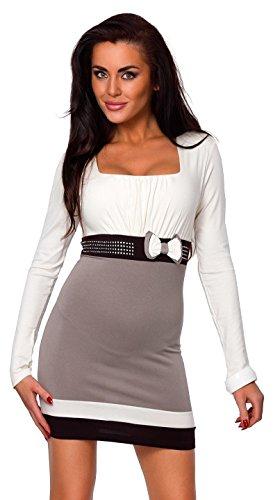 Zeta Ville - Mini robe avec noeud - tunique ceinture à sequins - femme - 158z écru