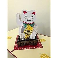 BC Worldwide Ltd hecho a mano 3D popup popup tarjeta de felicitación cumpleaños Navidad Navidad año nuevo día de San Valentín día de la madre día del padre amor amistad kawaii japonés Maneki-neko amuleto de la suerte regalo de papercraft