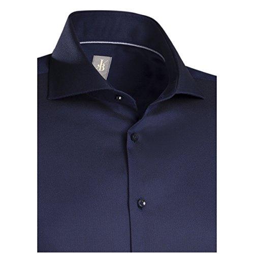 JACQUES BRITT Business Hemd Slim Fit 1/1-Arm Bügelleicht Uni / Uniähnlich City-Hemd Hai-Kragen Manschette weitenverstellbar dunkelblau (0019)