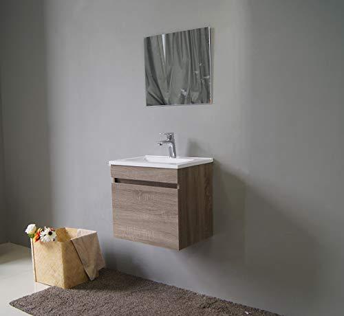 STARBATH PLUS Conjunto Mueble de Baño Suspendido MDF 50 x 35 cm Lavabo Resina 51 x 36 cm Espejo Berlin Nogal