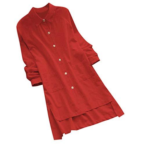 Lazzboy Plus Size Frauen Langarm Lose Beiläufige Tasche Button Long Tops Shirt Bluse Casual Stehkragen Tunika T Damen Sommer Herbst Langarmshirt Freizeit Oberteile(Wassermelonenrot,2XL)