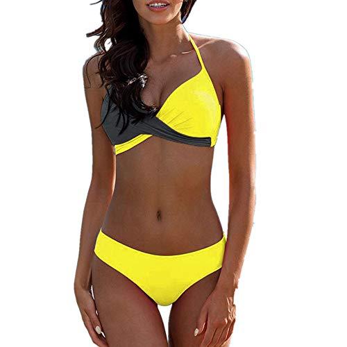 TWIFER Bikini Set Damen Badeanzug Halter Strandmode Bademode Farbblock Zweiteilige Bikinioberteil mit Push-Up-BH