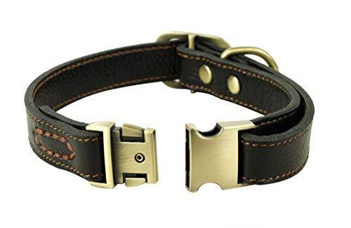 Rantow Cuero suave collar ajustable para los perros, del cuello del tamaño de 30 cm a 43cm y 2 cm...