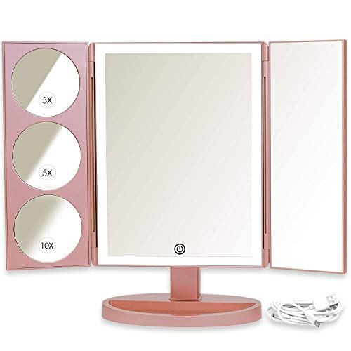 Mirrorvana XL Schminkspiegel mit Licht - extra groß kosmetikspiegel mit LED Beleuchtung und vergrößerungsspiegel (10 Fach / 5 Fach / 3 Fach), Roségold -