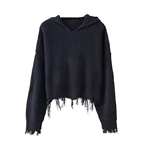 Sweater Damen Strick Pullover Frauen beiläufige Feste mit Kapuze Stricken Ernte Lange Hülsen Quasten Strickjacke Pullover Sweatshrt,ABsoar -