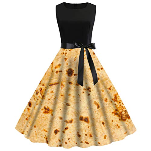 Frauen Vintage 50er Jahre ärmellose Burrito Tortilla Druck Party Prom Swing Dress (Dackel In Kostümen Bilder)