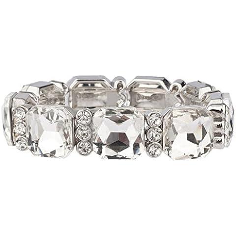 Lux Accessories - Bracciale elastico in pavé da matrimonio per sposa, damigella d'onore, grandi pietre di cristallo