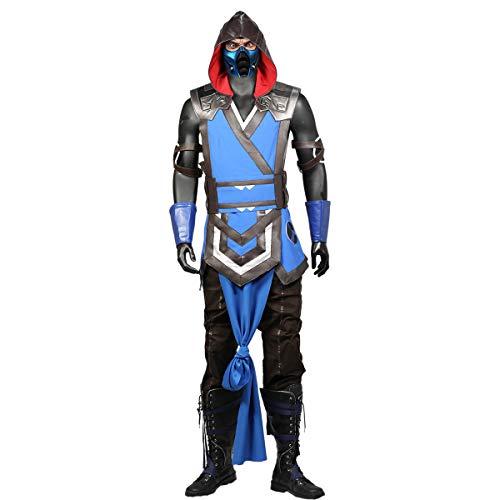 Zero Kostüm Sub - DealTrade Mortal Kombat Sub Zero Cosplay Kostüm MK11 Spiel Anzug Erwachsene Blau PU Leder Outfit Kostüm Halloween Karneval Kleidung Zubehör für Herren