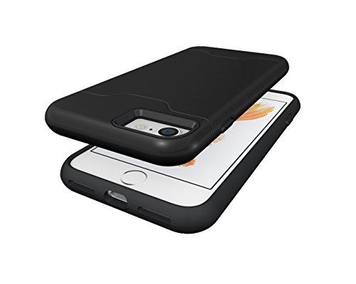 Schutzhülle für Apple iPhone 7 4.7 Zoll aufstellbares Hardcase mit Kartenfach Schutzcover (Bronze) Schwarz