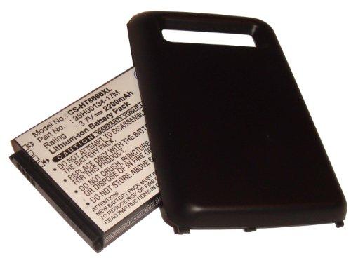 EXTENDED AKKU LI-ION 2200mAh passend für HTC Trophy 7, Spark, T8686, T 8686 ersetzt 35H00134-17M mit Gehäusedeckel