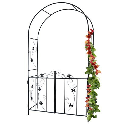 Jago Arco giardino di ferro per rose e piante rampicanti con cancello ca. 110/214/38 cm
