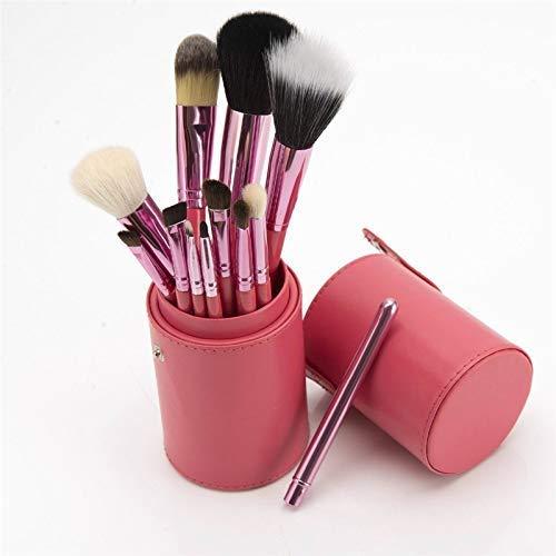 12 Zylinder Make-up Pinsel Holzgriff Wolle Make-up Pinsel Set 12 Barrel Brush Beauty Tools Schminkpinsel Kosmetikpinsel Lidschatten Gesichtspinsel Schwarz