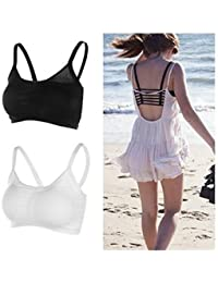 Beyond Beauty 6 Strap Padded Bra(removable Pads)size:free Combo Black+ White
