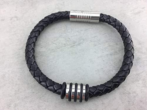 Armband Lederarmband aus geflochtenem Rinderleder Farbe: schwarz black für Herren Männer Frauen Damen Mann, Bead Beads aus Edelstahl, Längenauswahl! LA_8