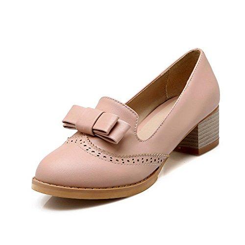 AllhqFashion Damen Rund Zehe Ziehen Auf Pu Mittler Absatz Pumps Schuhe Pink