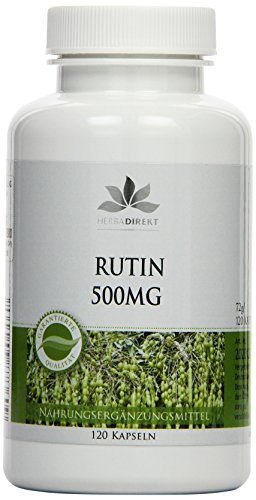 Herbadirekt Rutin 500 mg aus natürlichem Sophora japonica-Extrakt, 120 Kapseln, vegi, 1er Pack (1 x 72 g) Test