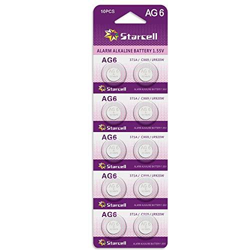 Act Alkaline Knopfzellen ohne Quecksilber AG6/LR69/LR921/371/1,5 Volt, 10er-Pack