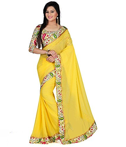 Sarees (Floral trendz chiffon saree for women with lace border and printed blouse piece)  available at amazon for Rs.249