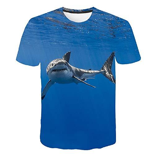 Frauen/Männer 3D Kurzarm T-Shirt Druck 3D Tees Tops Ocean Shark Druckmuster 6XL (Street Sharks Kostüm)