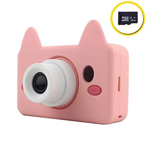 Xwly-Dr Kinder-Digital-Videokameras 2,0 Zoll 8 Megapixel Micro USB wiederaufladbare Kinder Anti-Drop-Kamera mit 16G TF-Karte Jungen Mädchen,Pink