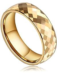 Bishilin Schmuck Edelstahl Herren Ring Rhombischen Hochzeit Verlobungsringe Trauringe Eheringe Gold