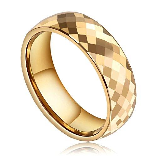 Epinki Herren Wolframcarbid Ringe, 8MM Wolfram Herrenringe Diamant Muster Gitter Titanringe Edel Verlobungsringe Gold Gr.70 (22.3)
