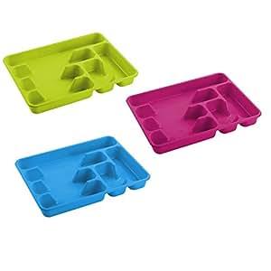 HEGA Capri Range-couverts en plastique 6 sections Violet/bleu/vert 40 cm