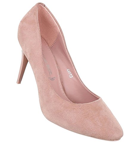 Damen Pumps Schuhe Elegant High Heels Altrosa