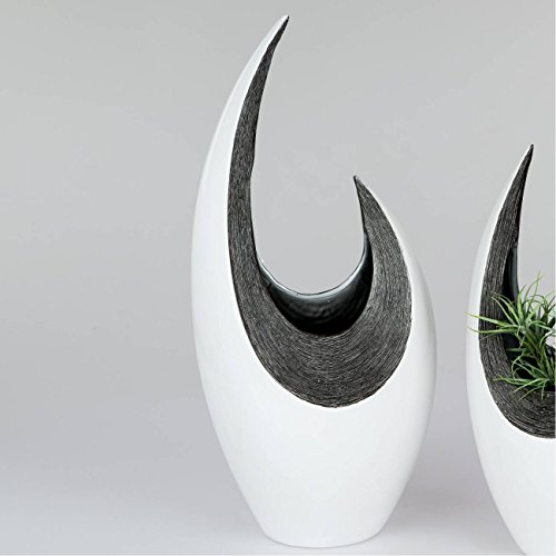 Deko Vase RAVENNA gebogen H. 55cm B. 24cm weiß anthrazit grau Keramik Formano