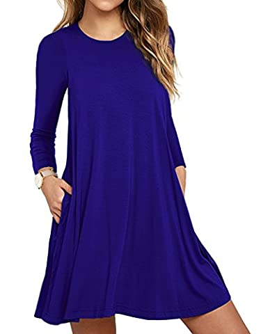 LILBETTER Womens Round Neck Sleeves A-line Casual T shirt Dress With Pocket Royal Blue UK 18-20
