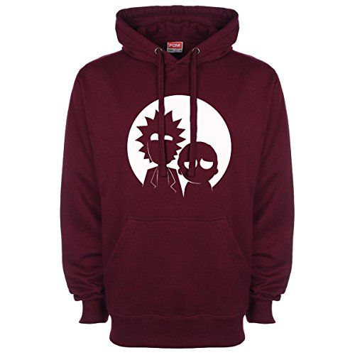Rick and Morty Silhouette Hoodie Burgundy Medium (38 40 inches)