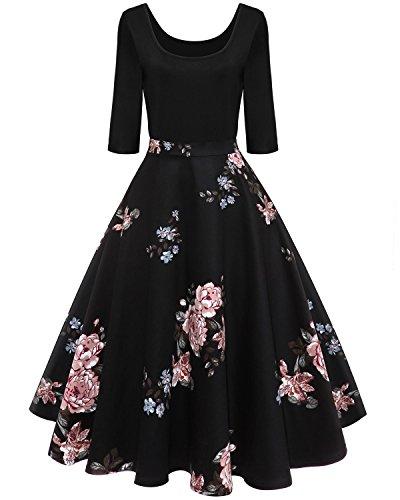 c9d74712f4 BIUBIU Women's 1950s Vintage Floral Patchwork Half Sleeve A Line ...