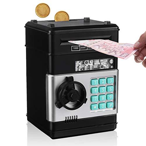 SAFETYON Hucha Electrónica con Cifrado de 4 Dígitos Cajero Automatico para Ahorrar Monedas y Billetes Regalo de Cumpleaño para Niños Negro