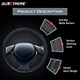 #4: AllExtreme EXBBEM1 PU Leather Embroidered Universal Anti-slip Car Auto Steering Wheel Cover (37cm, Black)