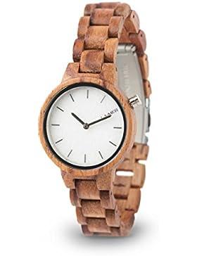 LAiMER Holzuhr MARMO ROSE - Damen Armbanduhr aus 100% Rosenholz und Zifferblatt aus Südtiroler Marmor für einzigartige...