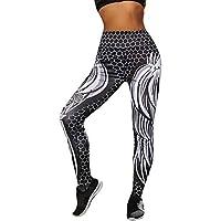 Leggins Mujer Pantalones Yoga Mujeres, Yusealia Cintura Alta Leggins Fitness Pantalones Ala de Cráneo Impresión 3D Elasticidad Moda Empalmada Pantalones De Correr Leggings EláSticos De Flaco Fitness