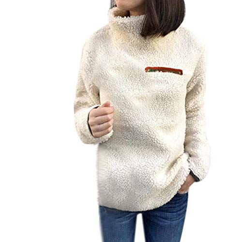 Winter Elegante Damen Warme Outwear Sweatershirt Mode Einfarbig Teddy-Fleece Rollkragen Pullover Lässig Täglich Pulli Oberteile Tops Fleecejacke Outwear von Innerternet