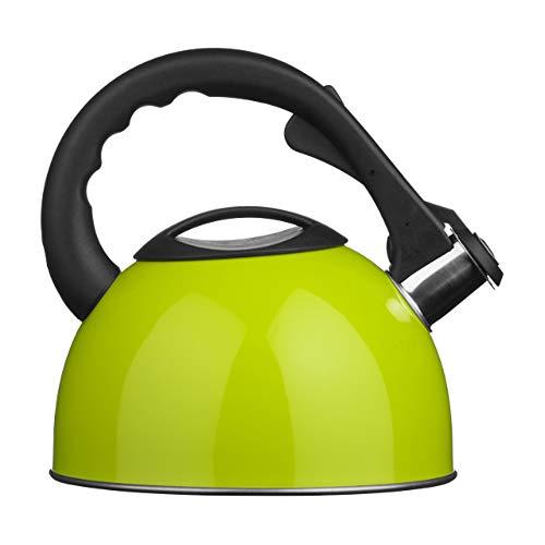 Premier Housewares Tetera-Hervidor con Silbato, Acero Inoxidable, Lime Green, centimeters