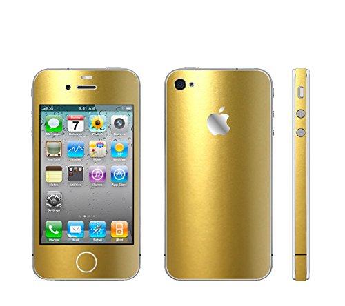 IPHONE 4 GOLD METALLIC MATT FOLIE SKIN ZUM AUFKLEBEN bumper case cover schutzhülle i phone (Iphone 4 Gold Aufkleber Skin)